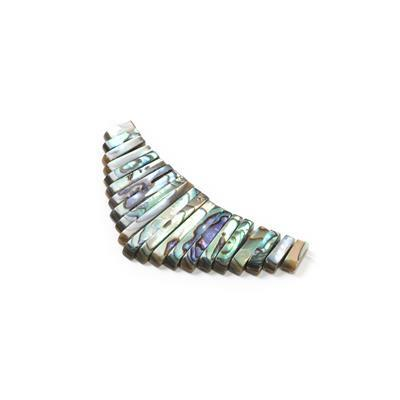 Abalone Graduated Bars Approx 10x4mm to 30x4mm, 21pcs