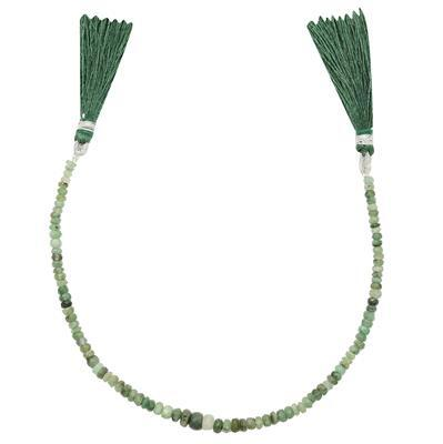 25cts Emerald Graduated Faceted Rondelles Approx 2x1 to 5x2mm, 20cm Strand.