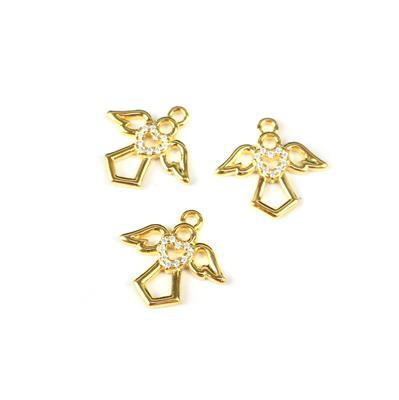 Gold Plated 925 Sterling Silver Angel Charm and Cubic Zirconia Approx 13mm 3pcs