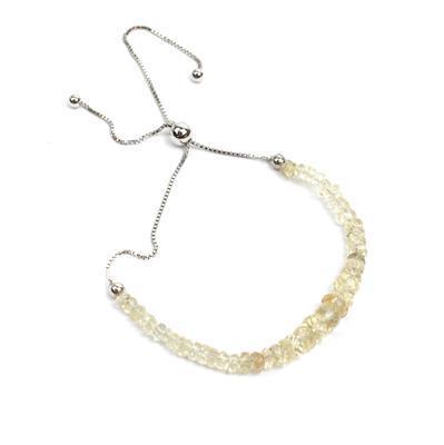 13.50ct 'Plush Diamond' Sunstone Sterling Silver Graduated Bead Slider Bracelet