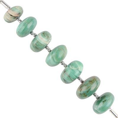 55cts Prase Graduated Plain Rondelles Approx 10x6 to 12x6mm, 6cm Strand.