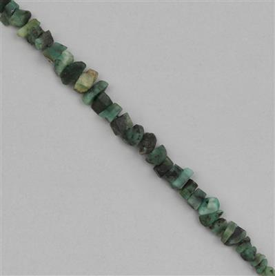 44cts Emerald Graduated Medium Rough Nuggets Approx 3x1 to 8x2mm, 14cm Strand.