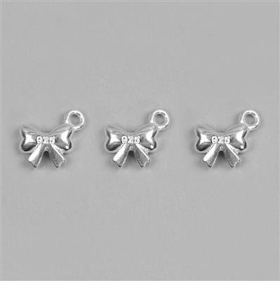 925 Sterling Silver Bow Charms Approx 9x7mm 3pcs