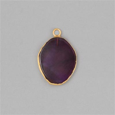 25cts Gold Electroplated Amethyst Smooth Oval Pendant Approx 25x21mm With 4mm Loop.(1pcs)