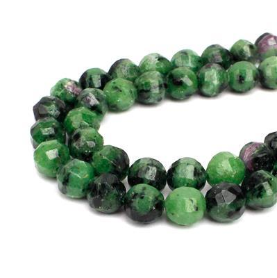 190cts Ruby Zoisite Pumpkin Style Faceted Rounds Approx 8mm, 38cm