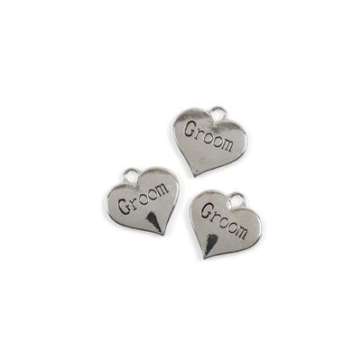 Silver Colour Heart Charms Engraved With Groom Approx 3cm 3pk