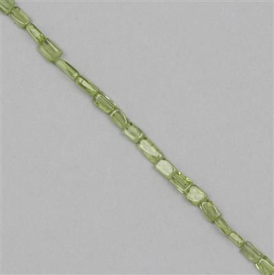 28cts Peridot Graduated Irregular Plain Rectangles Approx 2x1 to 6x3mm, 30cm Strand.