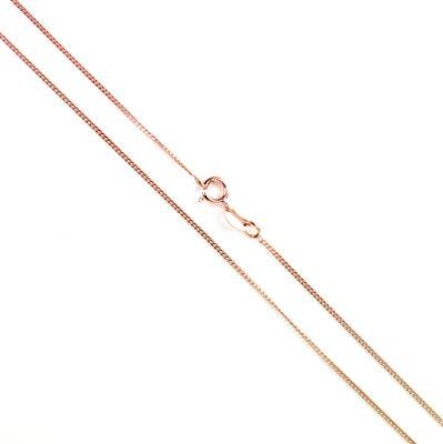 925 Rose Gold Plated Sterling Silver Curb Chain with 1mm Links, 51cm/20