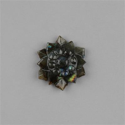 32cts Labradorite Carved Flower Approx 28x28mm.
