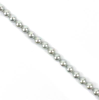 Silver Shell Pearl Plain Rounds Approx 8mm, 38cm Strand