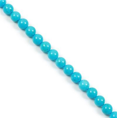290cts Coloured Blue Magnesite Plain Rounds Approx 10mm, 38cm Strand