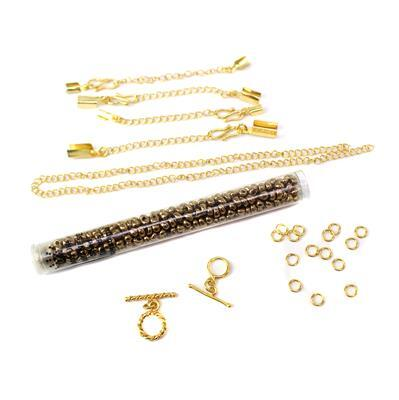 Micro Macrame for Beginners: Gold Plated Copper Macrame Findings Kit & Miyuki Magatamas