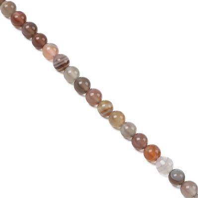 40cts Botswana Agate Plain Rounds Approx 4mm 38cm Strand