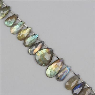 200cts Labradorite Graduated Faceted Elongated Pears Approx 10x6 to 24x13mm, 30cm Strand.
