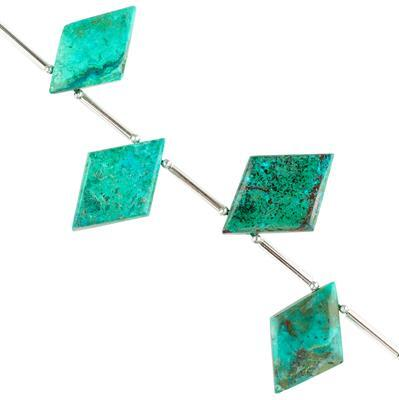 45cts Chrysocolla Graduated Plain Rhombus Approx 18x13 to 23x14mm, 6cm Strand.