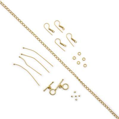 Gold Plated Base Metal Essential Findings Kit In Organza Bag (21pcs)