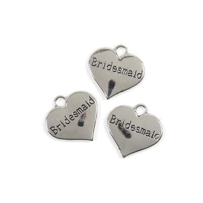 Silver Colour Heart Charms Engraved With Bridesmaid Approx 3cm 3pk