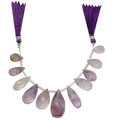 195cts Ametrine Graduated Faceted Drops Approx 12x6 to 27x11mm, 11cm Strand.