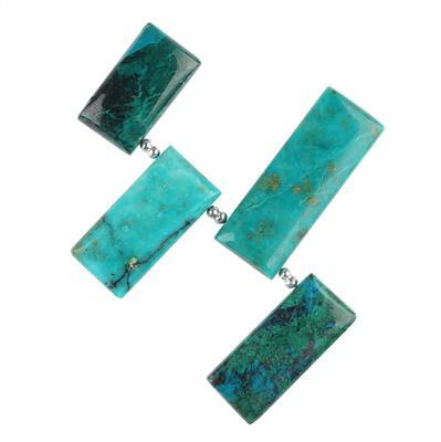 65cts Chrysocolla Graduated Plain Bars Approx 19x9 to 26x10mm, 4cm Strand.