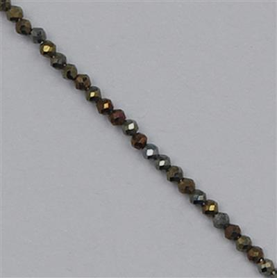 10cts Golden Colour Coated Black Spinel Micro Faceted Rondelles Approx 1x1mm, 30cm Strand.