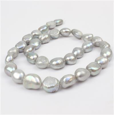 Silver Freshwater Pearl Nuggets Approx from 9x11mm to 10x14mm, 38cm
