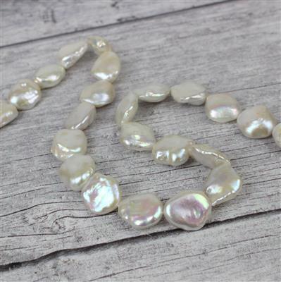 Metallic White Freshwater Cultured Keshi Pearls Approx 18x12mm, 38cm Strand