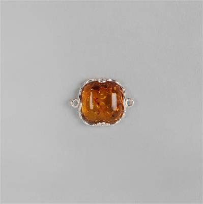 Baltic Cognac Amber Cushion Cabochon Connecter Approx 18x14mm Sterling Silver Element