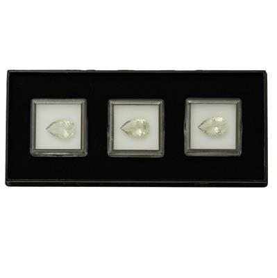 15cts Gemstone Set of Green Amethyst Faceted Pears Approx 15x10mm, (3pcs)