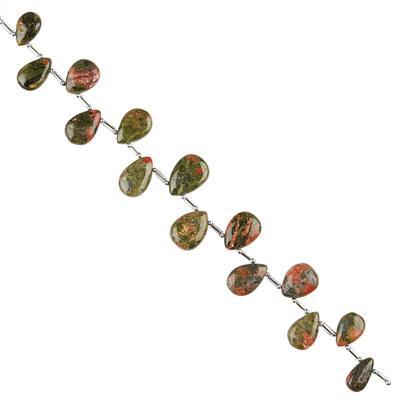 96cts Unakite Graduated Plain Pears Approx 10x7 to 15x10mm, 16cm Strand.