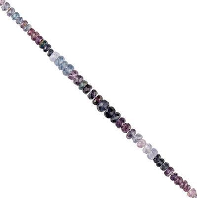 Mauve Spinel Graduated Faceted Rondelles Approx 2x1 to 4x2mm, 8cm Strand.