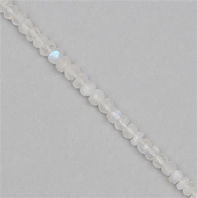 40cts Rainbow Moonstone Graduated Faceted Rondelles Approx 2x1 to 5x3mm, 29cm Strand.