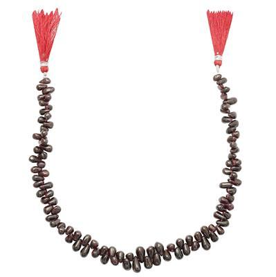 215cts Red Garnet Graduated Plain Drops Approx 5x4 to 11x5mm, 30cm Strand.
