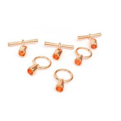 Rose Gold Coloured Toggle Clasp with Cord Ends 6.2mm (3pcs)