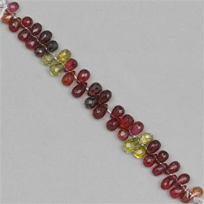 45cts Tunduru Garnet Graduated Faceted Drops Approx 5x3 to 8x4mm, 8cm Strand.