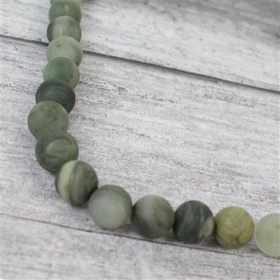 270cts Green Line Frosted Jasper Rounds Approx 10mm, 38cm strand