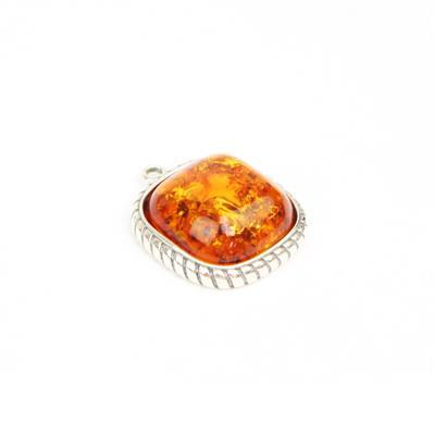 Baltic Cognac Amber Cabochon Cushion with Sterling Silver Element Approx 21x19mm