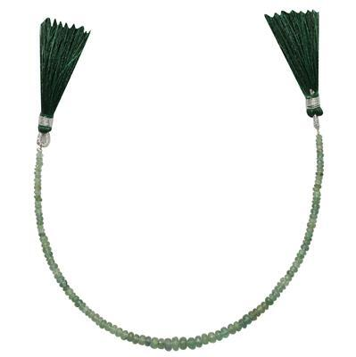 15cts Emerald Graduated Faceted Rondelles Approx 2x1 to 4x3mm, 18cm Strand.