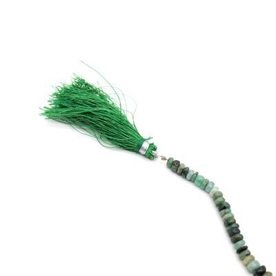52cts Shaded Emerald Graduated Plain Rondelles Approx 3X1 to 8x3mm, 15cm Strand.