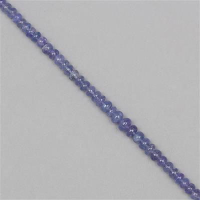 90cts Tanzanite Graduated Plain Rondelles Approx From 3x1 to 6x3mm, 38cm Strand.
