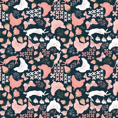 Daisy Mae Country Life Hens on Navy Fabric 0.5m