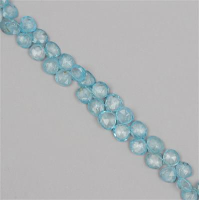 120cts Blue Colour Coated Topaz Graduated Faceted Drops Approx From 6 to 9mm, 23cm Strand.