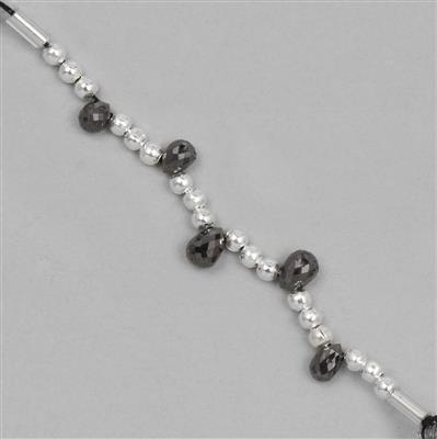 2cts Black Diamond Graduated Faceted Drops Approx 2x1 to 5x3mm, 4cm Strand.