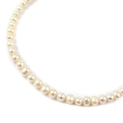 White Freshwater Cultured Potato Pearls Approx 6x7mm, Approx 38cm Strand