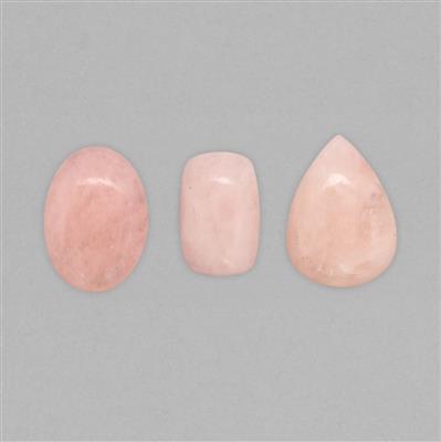 130cts Morganite Multi-Shape Cabochons Assortment (3pcs)
