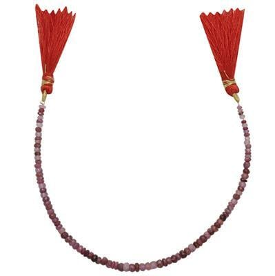 30cts Ruby Graduated Faceted Rondelles Approx 2x1 to 4x2mm, 18cm Strand.