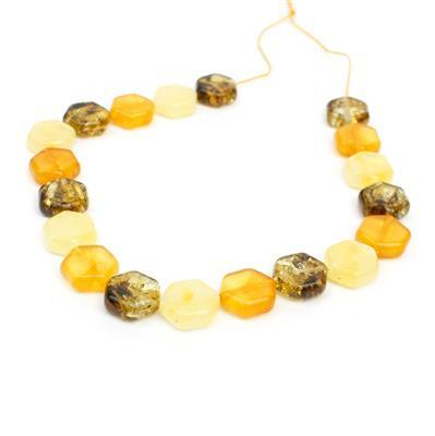 Baltic Multi Colour Amber Rounded Hexagon Bead Strand, Approx. 10mm 20cm Strand (Butterscotch, Earthy, Off-White)