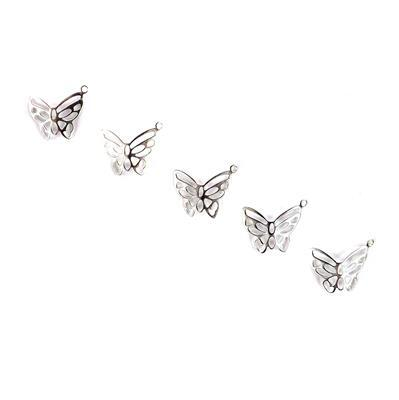 925 Sterling Silver Butterfly Charms Approx 18 x 14mm (5pcs)