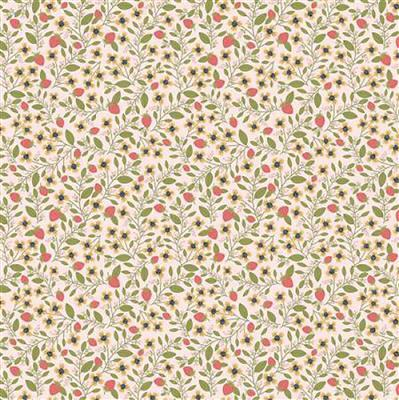 Daisy Mae Country Life Berries on Yellow Fabric 0.5m