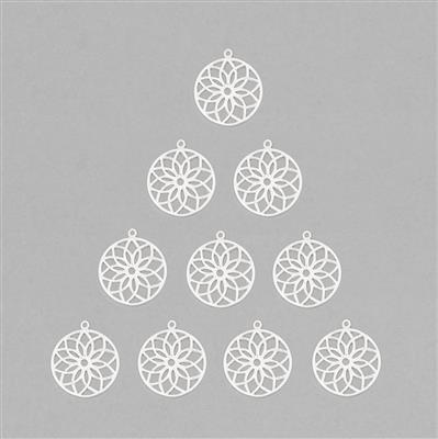 Silver Plated Brass Filigree Round Shape Flower Charms - 25mm (10pcs/pk)