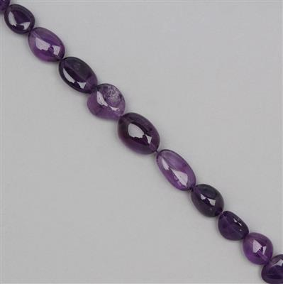 130cts Amethyst Graduated Tumbled Gemstones Approx 8x7 to 16x9mm, 23cm Strand.
